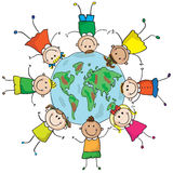 Kids and planet. Multinational kids holding hands in a circle around the earth. EPS8 without transparent and gradients, easy to edit Stock Photos