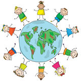 Kids and planet. Multinational kids holding hands in a circle around the earth Stock Photography