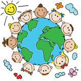 Kids and planet. Multinational kids heads in a circle around the earth royalty free illustration