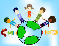 Kids and planet earth Royalty Free Stock Photos