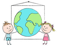 Kids with planet Stock Image