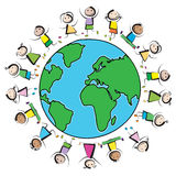 Kids and planet. Multinational kids jumping in a circle around the earth Royalty Free Stock Photos