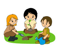 Kids Planting Stock Image