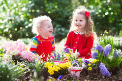 Kids planting flowers in blooming garden Stock Images