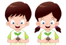 Kids is planting small plant Royalty Free Stock Photography