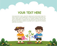 Kids is planting small plant in garden. Royalty Free Stock Images