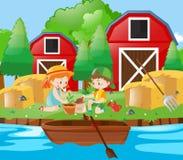 Kids planting tree in the farm. Illustration vector illustration