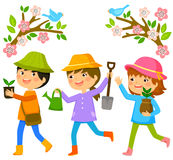 Kids planting trees. Three kids going to plant trees on tu bishvat stock illustration