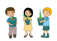 Kids and Plants Royalty Free Stock Images