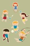 Kids play. Set of cartoon kids playing outdoors Royalty Free Stock Image