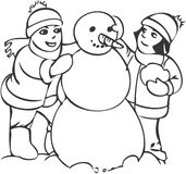 Kids at play. Boy and girl and snowman Royalty Free Stock Photography