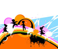 Kids at play. Kids silhouettes running and jumping Royalty Free Stock Image