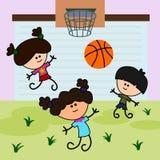 Kids play basketball Stock Image