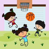 Kids play basketball. Cute cartoon kids happily plays a basketball game Stock Image