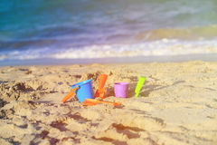 Kids play on beach concept Royalty Free Stock Image