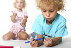 Kids play with colors Stock Photo
