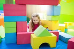 Kids play. Construction toy blocks. Child toys Royalty Free Stock Photography