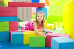 Kids play. Construction toy blocks. Child toys Royalty Free Stock Photo
