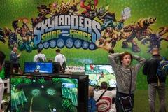 Kids play at Games Week 2013 in Milan, Italy Royalty Free Stock Photo