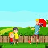 Kids play in garden cartoon vector illustration