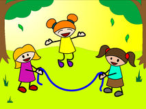 Kids play jump rope Royalty Free Stock Photography