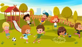 Kids Play Park Playground Vector Illustration. Children Swing Outdoor in Summer School Kindergarten. City Landscape. Background. Boy and Girl Cartoon Character stock illustration