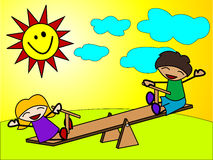 Kids play at the seesaw Stock Photos