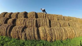 Kids play in a stack of straw. Kids play in a stack of straw stock video footage