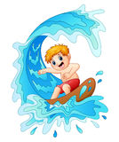 Kids play surfing with big wave. Illustration of Kids play surfing with big wave Royalty Free Stock Image