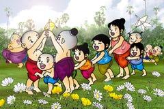 Kids play Thailand. The cartoonist Thailand. Skits about Thailand vector illustration