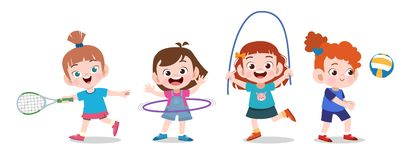 kids play together vector illustration set