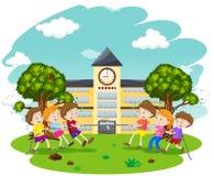 Kids Play Tug of War at School. Illustration Royalty Free Stock Photo
