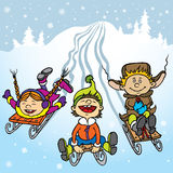 Kids play in winter Stock Photography