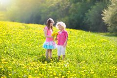 Kids play. Child in dandelion field. Summer flower. Kids play in yellow dandelion field. Child picking summer flowers. Little girl and boy run in spring Royalty Free Stock Image
