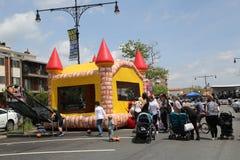 Kids play zone during Bay Fest street festival on Sheepshead Bay in Brooklyn. BROOKLYN, NEW YORK - MAY 20, 2018: Kids play zone during Bay Fest street festival stock photos