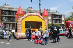 Kids play zone during Bay Fest street festival on Sheepshead Bay in Brooklyn. BROOKLYN, NEW YORK - MAY 20, 2018: Kids play zone during Bay Fest street festival stock images