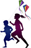 Kids players. Illustration art of a kids players with kite game Stock Photo