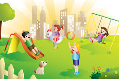 Kids in the playground. A vector illustration of kids playing in the playground Royalty Free Stock Image