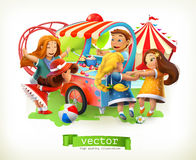 Kids playground. Amusement park. Vector illustration. Kids playground. Amusement park. 3d vector illustration Royalty Free Stock Photo