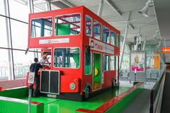 Kids playground-bus in Warsaw Chopin Airport, Poland Stock Images