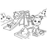 Kids at the playground  cartoon coloring page vector. Illustration Royalty Free Stock Photo