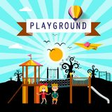 Kids on Playground in City Park. Vector Cartoon Royalty Free Illustration