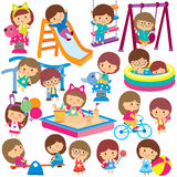 Kids at playground clip art set royalty free illustration