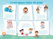 Kids at playground,cute children playing with toys in parks,Template for advertising brochure,your text, ready for your message. Vector illustration Stock Images