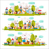 Kids Playground drawn in a flat style. Kids Playground on  background. Kids Playground outdoors. Kids Playground elements on white background. Childrens Royalty Free Stock Photos