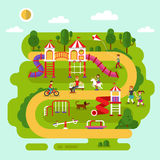 Kids playground and equipment. Flat design vector summer landscape illustration of park with kids playground and equipment with swings, slides and tube, carousel Royalty Free Stock Image