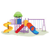 Kids playground equipment with swings. Stock Photos