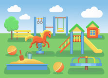 Kids playground flat concept background. Slide outdoor, sand and childhood, vector illustration Royalty Free Stock Images