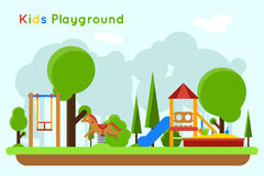 Kids playground flat vector concept background Royalty Free Stock Photo