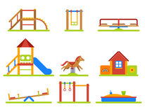 Kids playground flat vector icons set